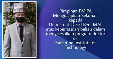 Dr. rer. nat. Deski Beri, M.Si Berhasil Menyelesaikan Program Doktor di Karlsruhe Institute of Technology